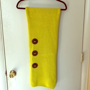 Citron yellow cotton hand knit scarf